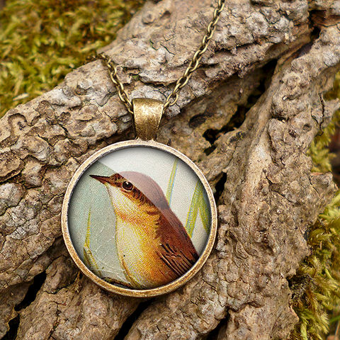 Reed,Warbler,Large,Necklace,(TB07),jewellery, jewelry, handmade, brass, necklace, vintage, bird, glass, cabochon, steampunk, victorian