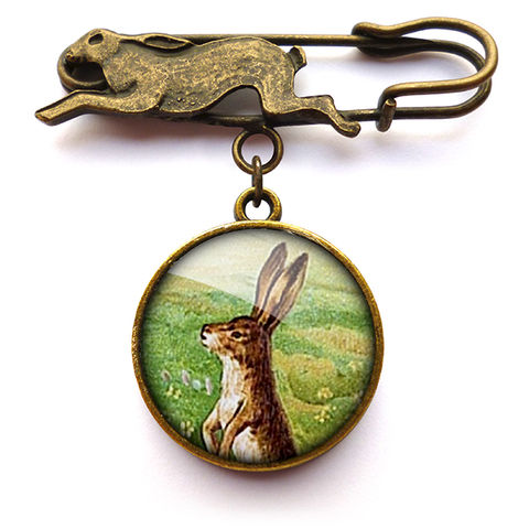 Vintage,Hare,Pin,Brooch,(ER08),jewellery, jewelry, handmade, brass, brooch, pin, rabbit, hare, easter, bunny, vintage, glass, cabochon, steampunk, victorian
