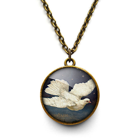 Vintage,Dove,Necklace,(ER09),jewellery, jewelry, handmade, brass, necklace, vintage, bird, dove, glass, cabochon, steampunk, victorian