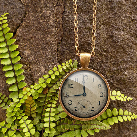 Vintage,Clock,Large,Necklace,(ER06),jewellery, jewelry, handmade, brass, necklace, vintage, clock, watch, glass, cabochon, steampunk, victorian