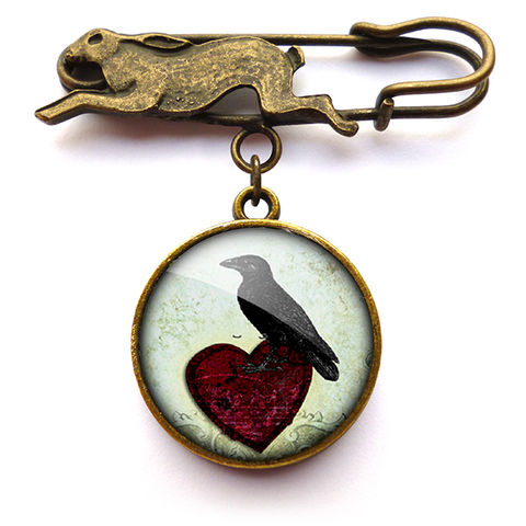 Raven,and,Red,Heart,No.2,Hare,Pin,Brooch,(RR09),jewellery, jewelry, handmade, brass, brooch, pin, rabbit, hare, vintage, glass, cabochon, steampunk, victorian, raven, heart, red heart