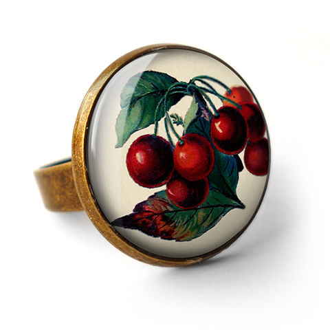 Vintage,Cherries,Ring,(ER02),jewellery, jewelry, handmade, brass, ring, vintage, cherries, cherry, fruit, glass, cabochon, steampunk, victorian
