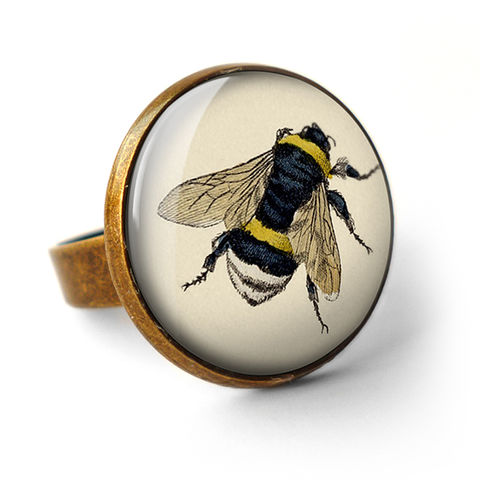 Vintage,Bee,Ring,(ER04),jewellery, jewelry, handmade, brass, ring, vintage, bee, insect, honey, glass, cabochon, steampunk, victorian