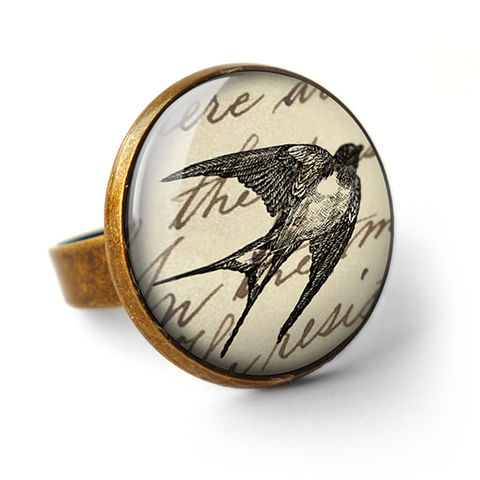 Vintage,Swallow,Ring,(ER05),jewellery, jewelry, handmade, brass, ring, vintage, swallow, bird, flight, glass, cabochon, steampunk, victorian