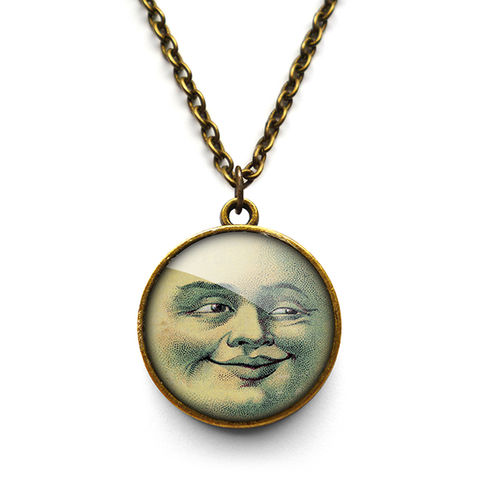 Vintage,Moon,Necklace,(ER01),jewellery, jewelry, handmade, brass, necklace, vintage, moon, face, astronomy, glass, cabochon, steampunk, victorian