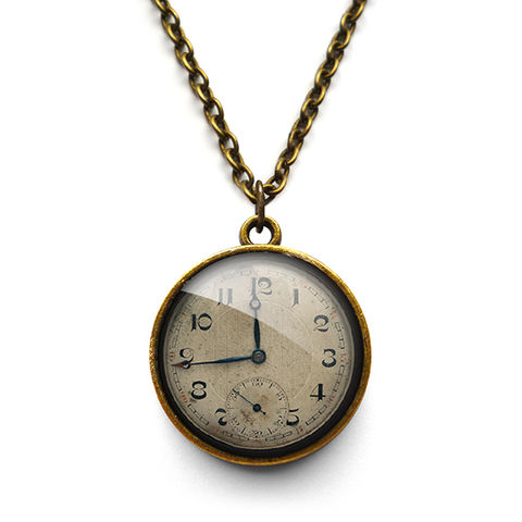 Vintage,Clock,Necklace,(ER06),jewellery, jewelry, handmade, brass, necklace, vintage, clock, time, watch, glass, cabochon, steampunk, victorian