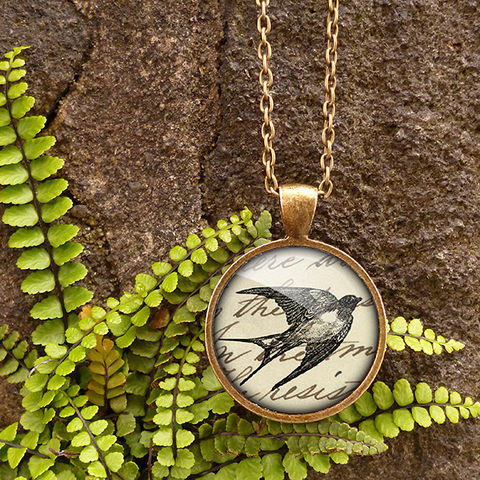 Vintage,Swallow,Large,Necklace,(ER05),jewellery, jewelry, handmade, brass, necklace, vintage, bird, swallow, flight, glass, cabochon, steampunk, victorian