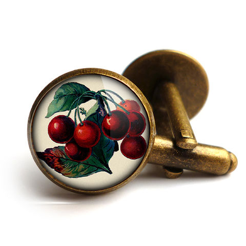Vintage,Cherries,Cufflinks,(ER02),jewellery, jewelry, handmade, brass, cufflinks, vintage, glass, cabochon, steampunk, victorian, cherries, cherry, fruit
