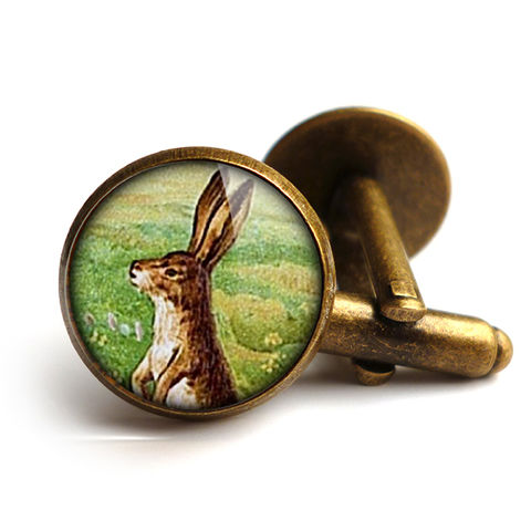 Vintage,Hare,Cufflinks,(ER08),jewellery, jewelry, handmade, brass, cufflinks, vintage, glass, cabochon, steampunk, victorian, hare, rabbit, easter, bunny