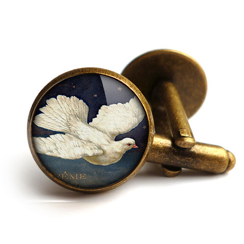 Vintage,Dove,Cufflinks,(ER09),jewellery, jewelry, handmade, brass, cufflinks, vintage, glass, cabochon, steampunk, victorian, dove, bird, flight, peace