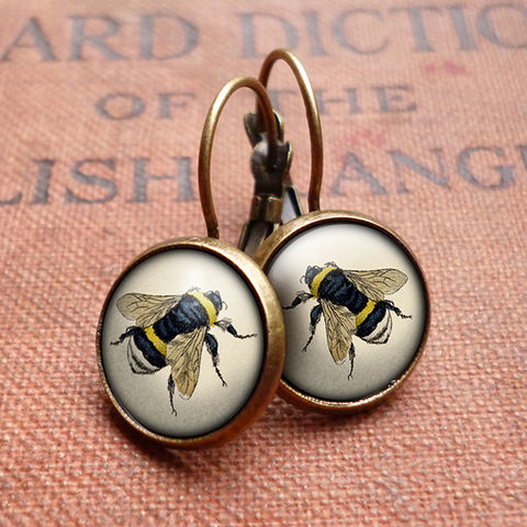Vintage,Bee,Leverback,Earrings,(ER04),jewellery, jewelry, handmade, brass, earrings, leverback, vintage, glass, cabochon, steampunk, victorian, bee, honey, insect