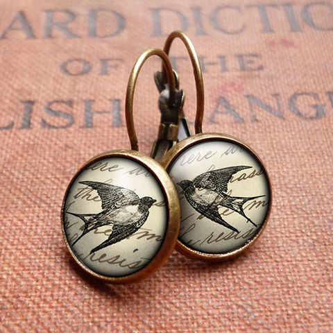 Vintage,Swallow,Leverback,Earrings,(ER05),jewellery, jewelry, handmade, brass, earrings, leverback, vintage, glass, cabochon, steampunk, victorian, swallow, bird, flight