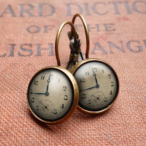 Vintage,Clock,Leverback,Earrings,(ER06),jewellery, jewelry, handmade, brass, earrings, leverback, vintage, glass, cabochon, steampunk, victorian, clock, watch, time