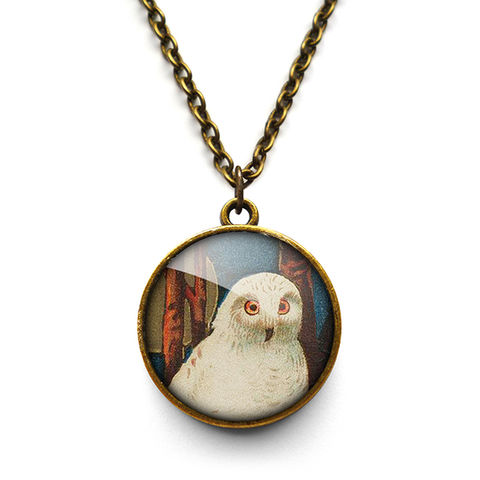 Snowy,Owl,Necklace,(TB04),jewellery, jewelry, handmade, brass, necklace, vintage, bird, owl, glass, cabochon, steampunk, victorian