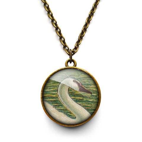 White,Swan,Necklace,(TB05),jewellery, jewelry, handmade, brass, necklace, vintage, bird, glass, cabochon, steampunk, victorian