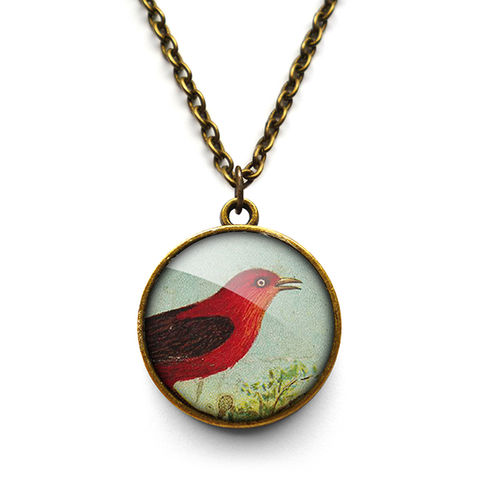 Red,Bird,Necklace,(TB06),jewellery, jewelry, handmade, brass, necklace, vintage, bird, glass, cabochon, steampunk, victorian