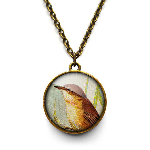 Reed,Warbler,Necklace,(TB07),jewellery, jewelry, handmade, brass, necklace, vintage, bird, glass, cabochon, steampunk, victorian