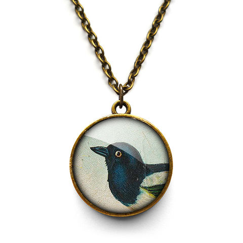 Magpie,Necklace,(TB08),jewellery, jewelry, handmade, brass, necklace, vintage, bird, magpie, glass, cabochon, steampunk, victorian