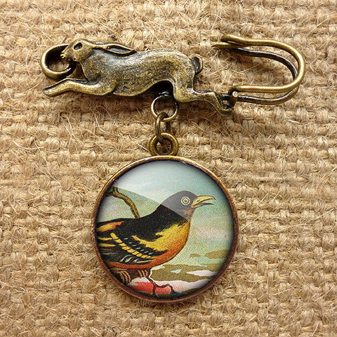 Affable,Bird,Hare,Pin,Brooch,(TB03),jewellery, jewelry, handmade, brass, brooch, pin, rabbit, hare, vintage, glass, cabochon, steampunk, victorian, yellow, bird