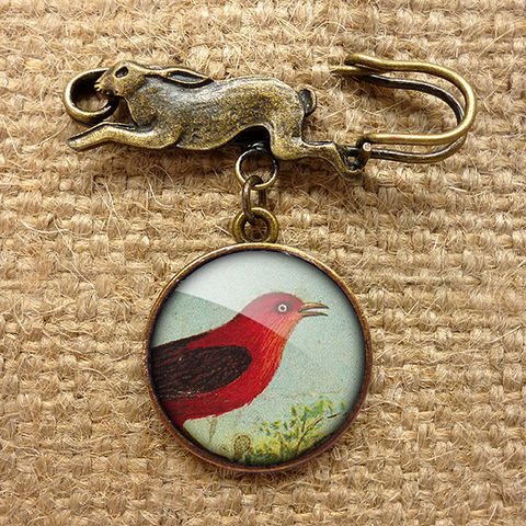 Red,Bird,Hare,Pin,Brooch,(TB06),jewellery, jewelry, handmade, brass, brooch, pin, rabbit, hare, vintage, glass, cabochon, steampunk, victorian, red, bird