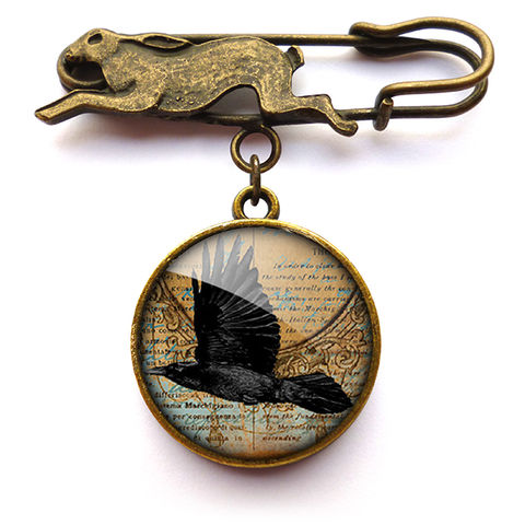 Raven,In,Flight,Hare,Pin,Brooch,(RR03),jewellery, jewelry, handmade, brass, brooch, pin, rabbit, hare, vintage, glass, cabochon, steampunk, victorian, raven, flight
