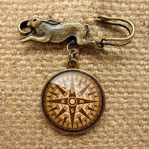 Compass,No.1,Hare,Pin,Brooch,(DJ03),jewellery, jewelry, handmade, brass, brooch, pin, rabbit, hare, vintage, glass, cabochon, steampunk, victorian, compass, ship, travel, journey