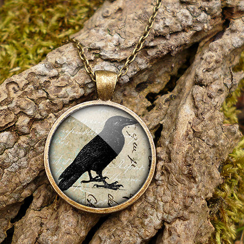 Raven,No.1,Large,Necklace,(RR01),jewellery, jewelry, handmade, brass, necklace, vintage, glass, cabochon, steampunk, victorian, raven, bird