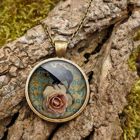 Raven,and,Pink,Rose,Large,Necklace,(RR05),jewellery, jewelry, handmade, brass, necklace, vintage, glass, cabochon, steampunk, victorian, raven, bird, pink, rose