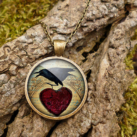 Raven,and,Red,Heart,No.1,Large,Necklace,(RR06),jewellery, jewelry, handmade, brass, necklace, vintage, glass, cabochon, steampunk, victorian, raven, bird, red, heart