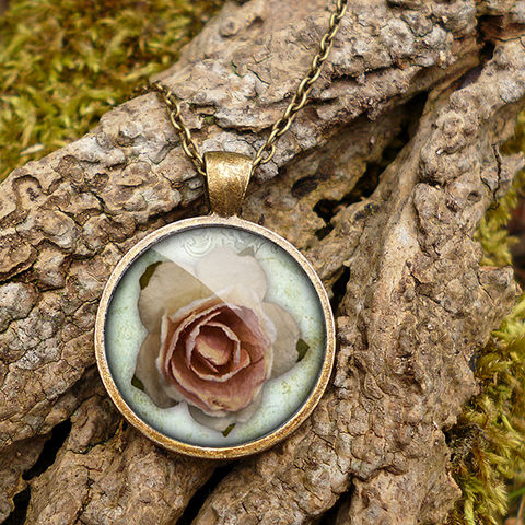 Pink,Rose,Large,Necklace,(RR08),jewellery, jewelry, handmade, brass, necklace, vintage, glass, cabochon, steampunk, victorian, rose, pink