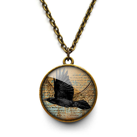 Raven,In,Flight,Necklace,(RR03),jewellery, jewelry, handmade, brass, necklace, vintage, glass, cabochon, steampunk, victorian, raven, bird, flight