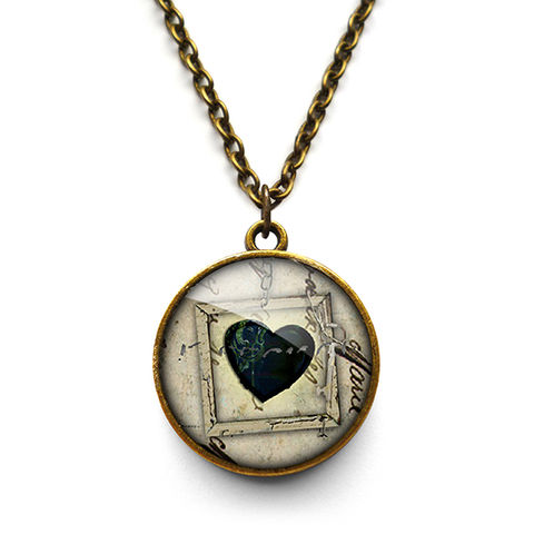 Black,Heart,No.1,Necklace,(RR04),jewellery, jewelry, handmade, brass, necklace, vintage, glass, cabochon, steampunk, victorian, heart, black, gothic
