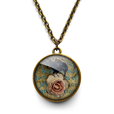 Raven,and,Pink,Rose,Necklace,(RR05),jewellery, jewelry, handmade, brass, necklace, vintage, glass, cabochon, steampunk, victorian, raven, bird, pink, rose