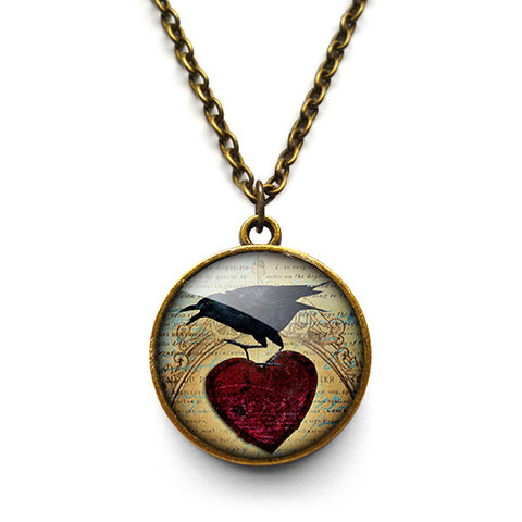 Raven,and,Red,Heart,No.1,Necklace,(RR06),jewellery, jewelry, handmade, brass, necklace, vintage, glass, cabochon, steampunk, victorian, raven, bird, red, heart