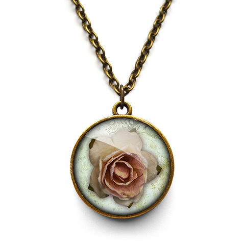Pink,Rose,Necklace,(RR08),jewellery, jewelry, handmade, brass, necklace, vintage, glass, cabochon, steampunk, victorian, rose, pink