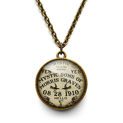 Mystic,Necklace,(DJ02),jewellery, jewelry, handmade, brass, necklace, vintage, glass, cabochon, steampunk, victorian, mystic, ouija, board, fortune