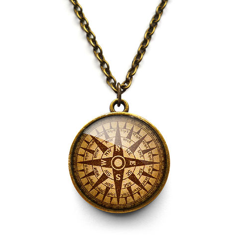 Compass,No.1,Necklace,(DJ03),jewellery, jewelry, handmade, brass, necklace, vintage, glass, cabochon, steampunk, victorian, ship, compass, travel, journey