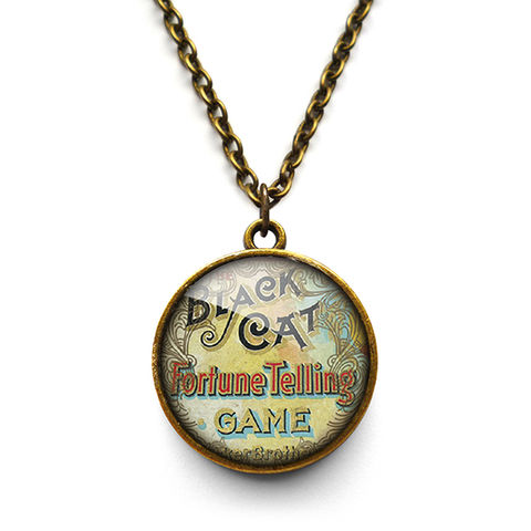Black,Cat,Necklace,(DJ05),jewellery, jewelry, handmade, brass, necklace, vintage, glass, cabochon, steampunk, victorian, fortune, black, cat, game