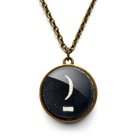 Crescent,Moon,Typewriter,Key,Necklace,(DJ10),jewellery, jewelry, handmade, brass, necklace, vintage, glass, cabochon, steampunk, victorian, typewriter, key, black, moon