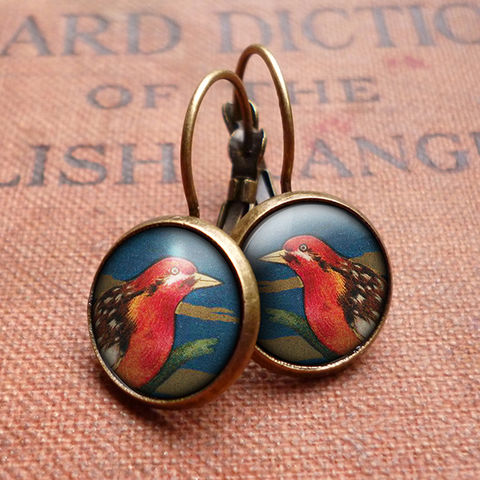 Crimson,Bird,Leverback,Earrings,(TB01),jewellery, jewelry, handmade, brass, earrings, leverback, vintage, glass, cabochon, steampunk, victorian, red, crimson, bird
