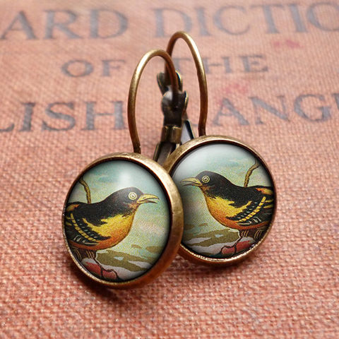 Affable,Bird,Leverback,Earrings,(TB03),jewellery, jewelry, handmade, brass, earrings, leverback, vintage, glass, cabochon, steampunk, victorian, yellow, bird