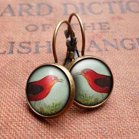 Red,Bird,Leverback,Earrings,(TB06),jewellery, jewelry, handmade, brass, earrings, leverback, vintage, glass, cabochon, steampunk, victorian, red, bird