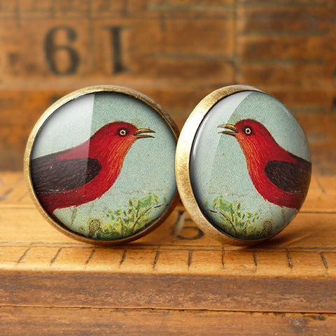 Red,Bird,Cufflinks,(TB06),jewellery, jewelry, handmade, brass, cufflinks, vintage, glass, cabochon, steampunk, victorian, red, bird