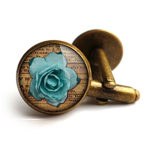 Blue,Rose,Cufflinks,(RR02),jewellery, jewelry, handmade, brass, cufflinks, vintage, glass, cabochon, steampunk, victorian, blue, rose
