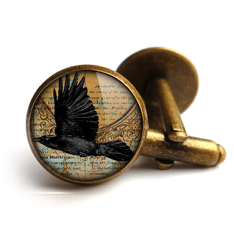 Raven,In,Flight,Cufflinks,(RR03),jewellery, jewelry, handmade, brass, cufflinks, vintage, glass, cabochon, steampunk, victorian, raven, bird, flight, gothic