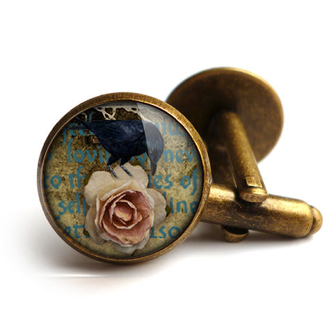 Raven,and,Pink,Rose,Cufflinks,(RR05),jewellery, jewelry, handmade, brass, cufflinks, vintage, glass, cabochon, steampunk, victorian, raven, pink, rose, gothic