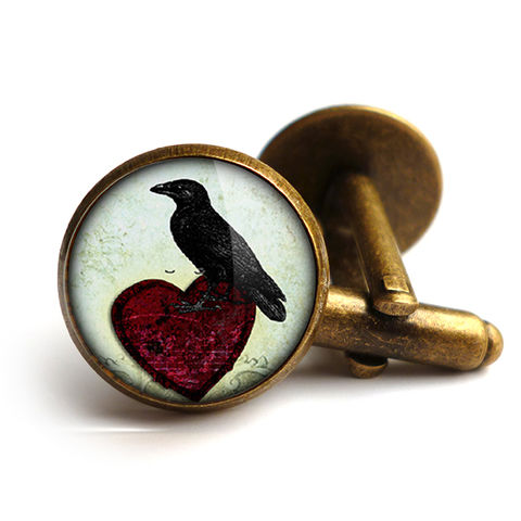Raven,and,Red,Heart,No.2,Cufflinks,(RR09),jewellery, jewelry, handmade, brass, cufflinks, vintage, glass, cabochon, steampunk, victorian, raven, red, heart, gothic