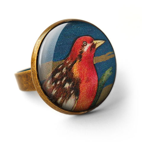 Crimson,Bird,Ring,(TB01),jewellery, jewelry, handmade, brass, ring, vintage, glass, cabochon, steampunk, victorian, bird, red, crimson