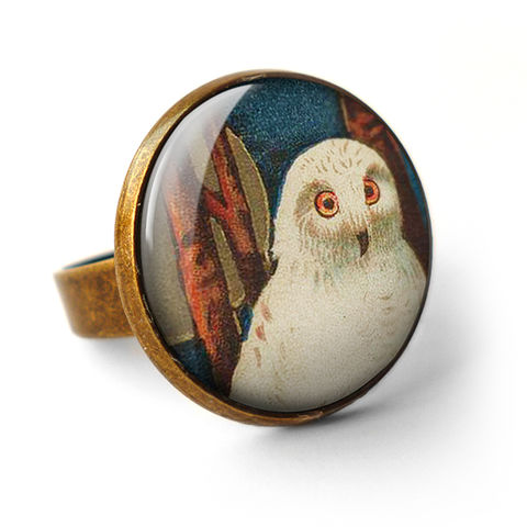 Snowy,Owl,Ring,(TB04),jewellery, jewelry, handmade, brass, ring, vintage, glass, cabochon, steampunk, victorian, bird, snowy, owl