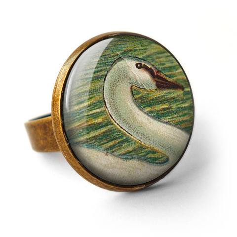 White,Swan,Ring,(TB05),jewellery, jewelry, handmade, brass, ring, vintage, glass, cabochon, steampunk, victorian, bird, white, swan